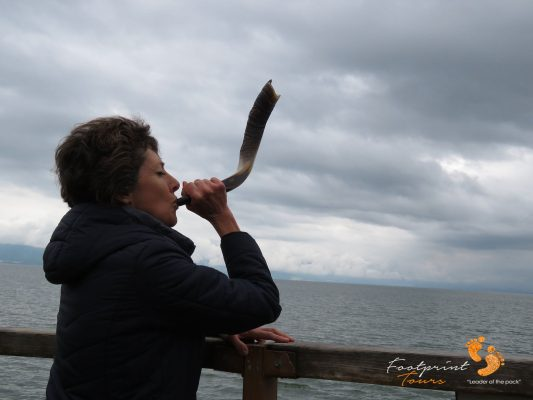 Shofar blow on Sea of Galilee – IMG_6331
